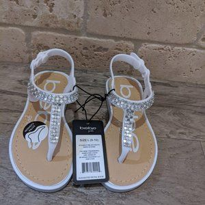 New Bebe Girls rhinestone flip flops